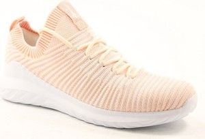 Różowe buty sportowe American Club ze skóry z płaską podeszwą