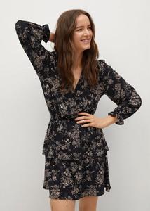 Sukienka Mango z długim rękawem z dekoltem w kształcie litery v