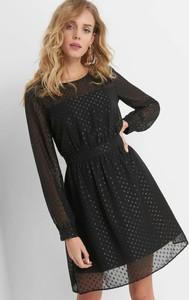 Czarna sukienka ORSAY z długim rękawem midi koszulowa