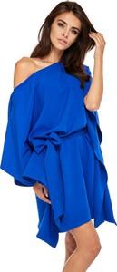 Niebieska sukienka Moda Dla Ciebie z długim rękawem