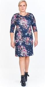Sukienka Fokus dla puszystych z długim rękawem z dzianiny