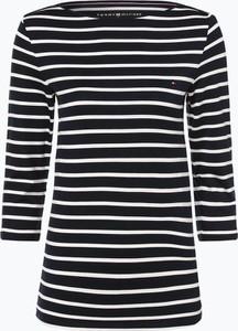 Granatowy t-shirt Tommy Hilfiger z dżerseju z okrągłym dekoltem w stylu casual