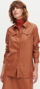 Brązowa koszula Reserved ze skóry