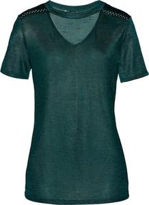 Zielony t-shirt bonprix bpc selection premium z krótkim rękawem w stylu casual