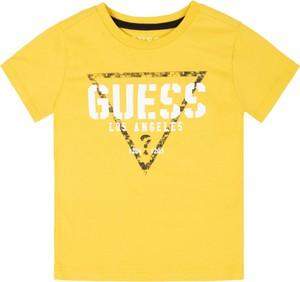Żółta koszulka dziecięca Guess z krótkim rękawem