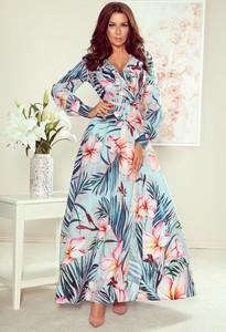 Sukienka NUMOCO z długim rękawem maxi w stylu boho