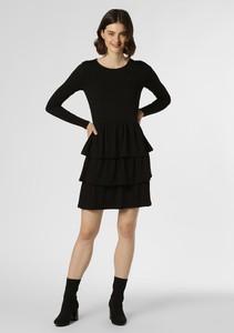 Czarna sukienka Aygill`s rozkloszowana z dżerseju z długim rękawem