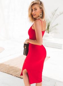 Czerwona sukienka SELFIEROOM z bawełny na ramiączkach w stylu casual