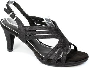 Czarne sandały Marco Tozzi na obcasie z klamrami