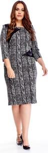 Sukienka Ptakmoda.com w stylu casual z okrągłym dekoltem z długim rękawem