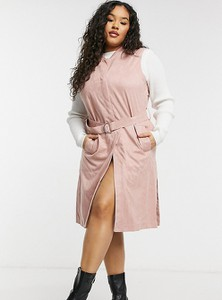 Różowa kurtka Simply Be z zamszu