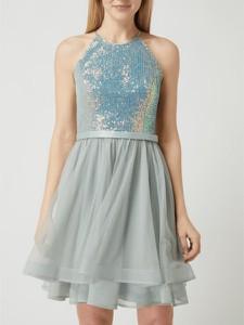Miętowa sukienka V.m. z szyfonu mini bez rękawów