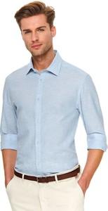 Koszula Top Secret w stylu casual z lnu z kołnierzykiem button down