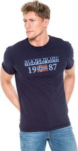 Granatowy t-shirt Napapijri z krótkim rękawem