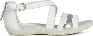 Sandały Geox w stylu casual z płaską podeszwą ze skóry ekologicznej