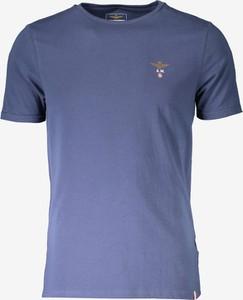 Niebieski t-shirt Aeronautica Militare w stylu casual z krótkim rękawem