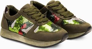 Larica buty sportowe z cekinami khaki lr060
