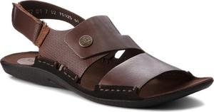 Czarne buty letnie męskie NIK w stylu casual na rzepy