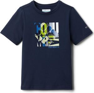 Niebieski t-shirt Columbia w młodzieżowym stylu