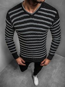 Czarny sweter ozonee.pl z dzianiny w młodzieżowym stylu