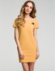 Żółta sukienka MOE mini z krótkim rękawem z dresówki