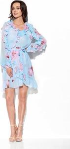 Niebieska sukienka Merg z długim rękawem