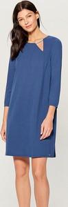 Niebieska sukienka Mohito z długim rękawem w stylu casual