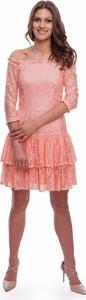 Pomarańczowa sukienka B&b Studio z satyny mini