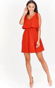 cbb5464484 Czerwone sukienki koktajlowe z dekoltem w kształcie litery v ...
