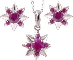 Braccatta sandra ; komplet srebrnej biżuterii z rubinami, gwiazdki 3 ct.