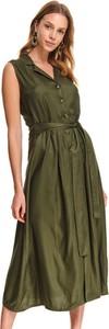 Zielona sukienka Top Secret z dekoltem w kształcie litery v koszulowa maxi