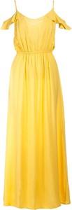 Żółta sukienka Multu z dekoltem w kształcie litery v maxi