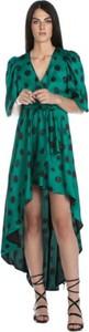 Zielona sukienka Relish asymetryczna z długim rękawem