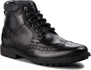 Czarne buty zimowe Clarks w stylu casual ze skóry ekologicznej sznurowane