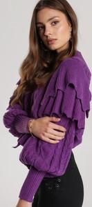 Fioletowy sweter Renee w stylu casual