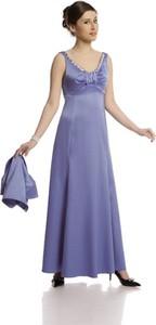 Niebieska sukienka Fokus z satyny z dekoltem w kształcie litery v maxi