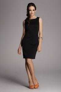 Czarna sukienka Figl z okrągłym dekoltem ołówkowa