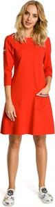 Czerwona sukienka MOE z okrągłym dekoltem mini z długim rękawem