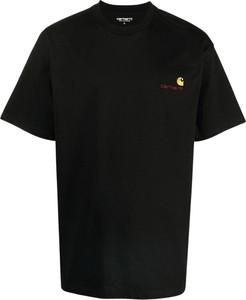Czarny t-shirt Carhartt WIP z krótkim rękawem z bawełny w stylu casual