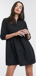 Czarna sukienka Asos Design mini z kołnierzykiem z długim rękawem