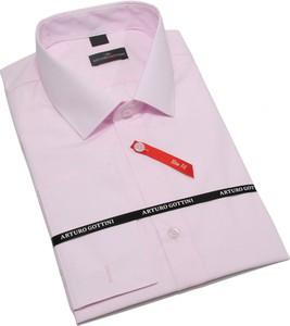 Różowa koszula krawatikoszula.pl z długim rękawem z tkaniny