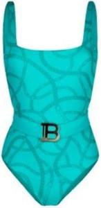 Turkusowy strój kąpielowy Balmain w stylu casual z nadrukiem