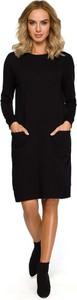 Czarna sukienka MOE z okrągłym dekoltem z dzianiny z długim rękawem