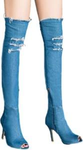 Kozaki Yaze na szpilce za kolano w stylu casual