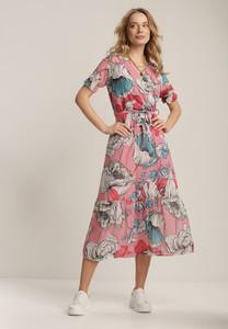 Sukienka Renee z dekoltem w kształcie litery v z krótkim rękawem midi