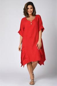 Sukienka Plus Size Company z okrągłym dekoltem z lnu mini