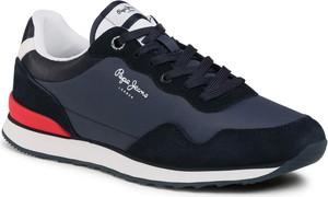 Granatowe buty sportowe Pepe Jeans sznurowane