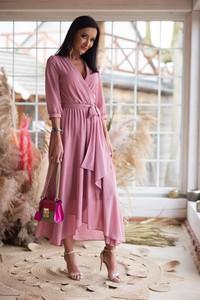 Sukienka Elizabeth z długim rękawem kopertowa maxi