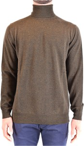 Brązowy sweter Kangra z wełny z golfem w stylu casual