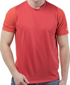 Czerwony t-shirt Adidas w sportowym stylu z dzianiny z krótkim rękawem